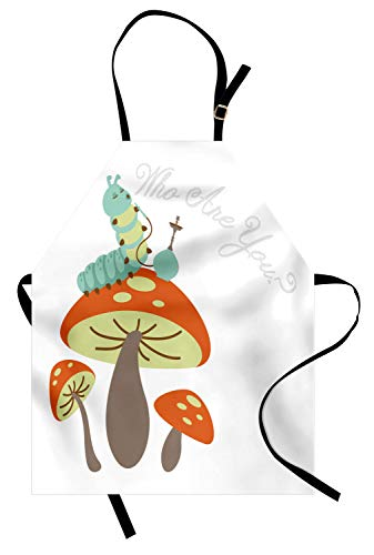 Ambesonne Alice in Wonderland Apron, Hookah Smoking Caterpillar Sitting on a Mushroom and Asking Who are You, Unisex Kitchen Bib Apron with Adjustable Neck for Cooking Baking Gardening, Multicolor -