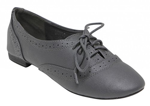 Anna Rosy-4 women's ballet boat dressed oxford lace up Low Flat loafer PU Perforated shoes Grey (Anna Shoe)