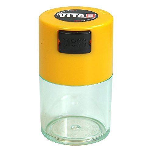 Vitavac - 5g to 20 grams Airtight Multi-Use Vacuum Seal Portable Storage Container for Dry Goods, Food, and Herbs - Yellow Cap & Clear Body