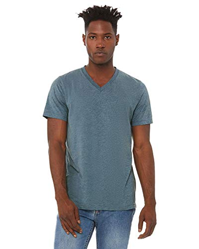 Bella + Canvas - Unisex Triblend Short Sleeve V-Neck Tee - 3415 - L - Denim Triblend