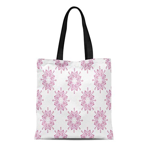 Semtomn Cotton Canvas Tote Bag Announcement Floral Lace Toile Med Pink Pale Baby Birthday Reusable Shoulder Grocery Shopping Bags Handbag Printed