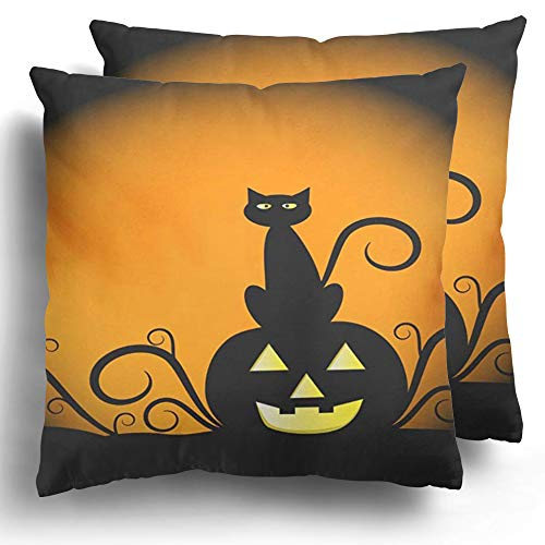 Halloween Black Cats Clipart (Staroind Throw Pillow Covers Pack of 2 Orange Halloween Pumpkin and Cat Yellow Black Moon October Clipart Scary Polyester Cushion Case Home Couch Winter Decoration 18 x 18)