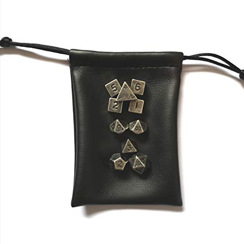 Rollooo Mini Dice Antique Silver Metal 10 Piece Set 7 + 3 Extra D6's for RPG DND D&D Games