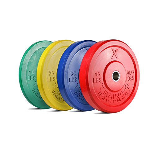 X Training Equipment Premium Color Bumper Plate Solid Rubber with Steel Insert - Great for Crossfit Workouts (Set: 230lb)