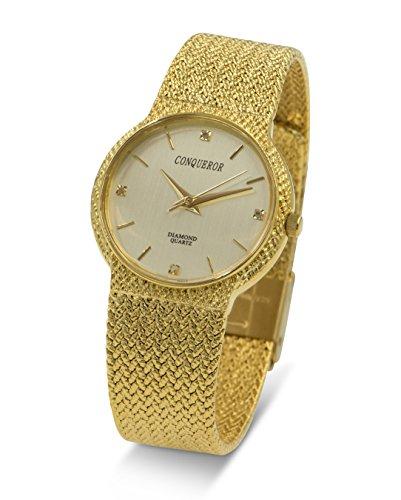 Conqueror Gold-Tone Mesh Bracelet and Diamond Unisex Quartz Dress Watch