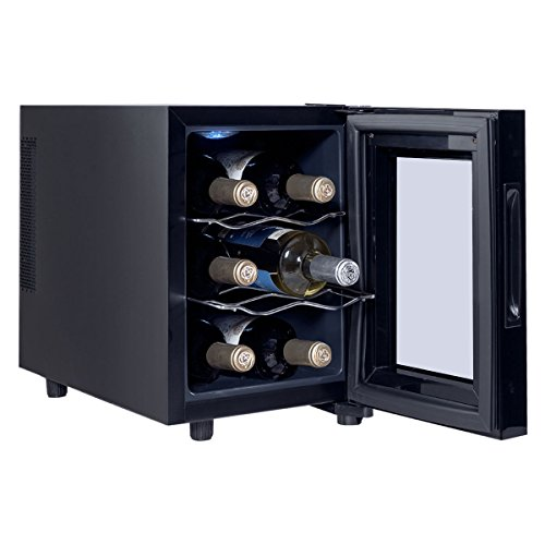 Costway Thermoelectric Wine Cooler Freestanding Cellar Chiller Refrigerator Quiet Compact w/Touch Control (6 Bottle) by COSTWAY (Image #1)