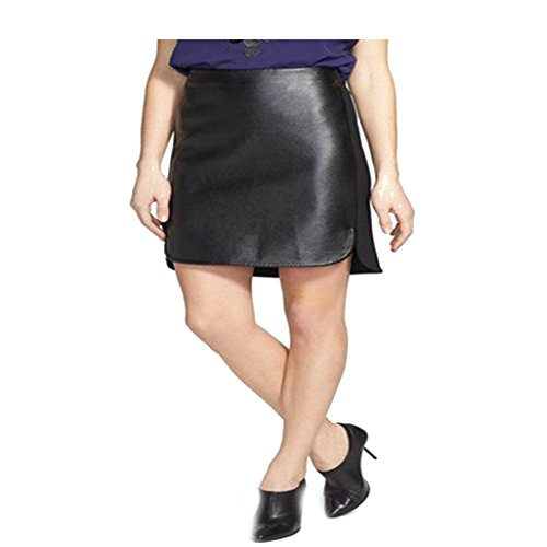 DKNYC Faux Leather & Ponte Pull-On Skirt Black Small