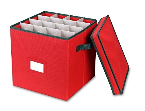 Christmas Ornament Storage Box with Lid - Adjustable Dividers and 4 Adjustable Layers - Holds up to 64 Round Ornaments - Holiday Storage (Red)