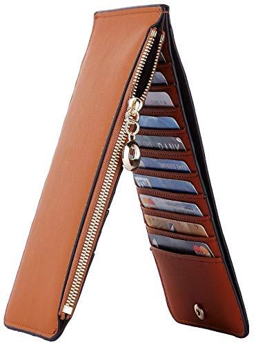 Toughergun Womens RFID Blocking Genuine Leather Multi Card Organizer Wallet with Zipper Pocket(Chic ()