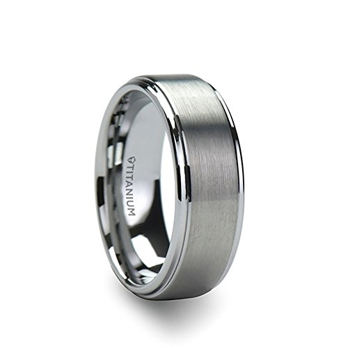 Center Titanium Wedding Band (Thorsten Rings THORSTEN - RHINOX Matte Brushed Raised Finished Center Titanium Wedding Ring with Polished Step Edges Comfort Fit Lightweight Durable Wedding Band - 8mm)