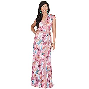 642ca120c071b KOH KOH Petite Womens Long Cap Sleeve Sexy Wrap Floral Print Spring Summer  Casual Vintage Beach Evening Party Floor Length Sundresses Gown Gowns Maxi  Dress ...