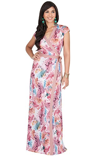KOH KOH Plus Size Womens Long Cap Sleeve Sexy Wrap Floral Print Spring Summer Casual Vintage Beach Evening Party Floor Length Sundresses Gown Gowns Maxi Dress Dresses, Dusty Pink XL 14-16