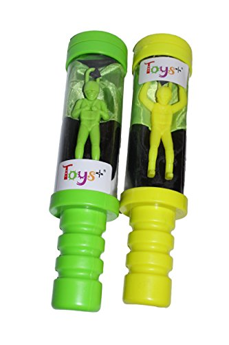 Tangle Free Skydiver Toy Parachute Man With Launcher 2 Pack! (Colors and Styles May Vary) (Tangle Free Toy Parachute)