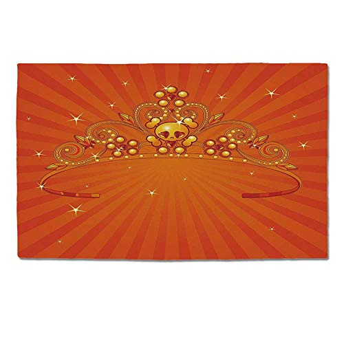 YOLIYANA Queen Durable Door Mat,Fancy Halloween Princess Crown with Little Skull Daisies on Radial Orange Backdrop Stars Decorative for Home Office,One Size -
