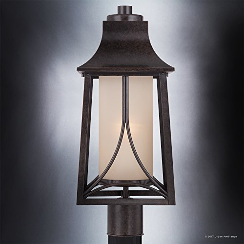 Luxury Asian Outdoor Post Light, Large Size: 21''H x 8.5''W, with Craftsman Style Elements, Airy and Simplistic Design, Beautiful Royal Bronze Finish and Light Amber Glass, UQL1083 by Urban Ambiance by Urban Ambiance (Image #4)