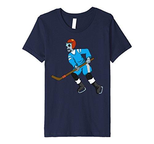 Hockey Player Costume Women (Kids Ice Hockey Skeleton Shirt | Funny Halloween Sports T-Shirt 8 Navy)