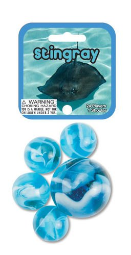 STINGRAY MARBLE NET - 24 Player Marbles & 1 Shooter Marble Mega Glass 77832
