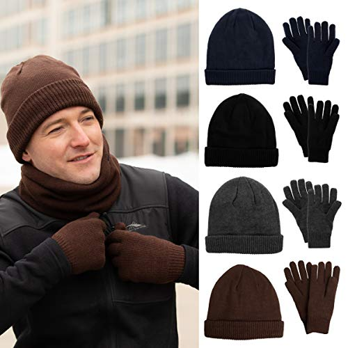 a24d856808afb DG Hill Mens Winter Hat And Gloves Set with 3M Thinsulate fleece lining