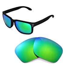 Walleva Replacement Lenses for Oakley Holbrook Sunglasses -Multiple Options (Emerald Mirror Coated - Polarized)