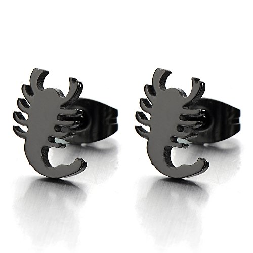 (Mens Black Scorpion King Stud Earrings in Stainless Steel Gothic Biker Punk Rock, 2 pcs)