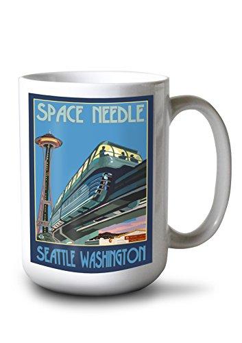 (Lantern Press Seattle, Washington - Space Needle and Monorail (15oz White Ceramic Mug))