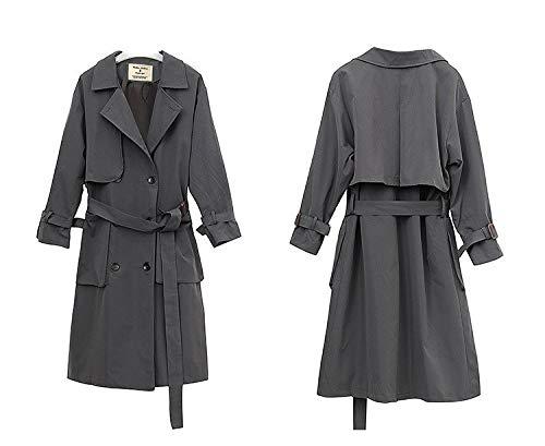 en coton imprimé trench de épais de Cappotti long veau Vitila grise manteau femme et veste velouté cuir qwIXFWt1