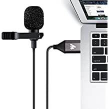 USB Lavalier Microphone-MAONO AU-410 Omnidirectional Lapel Mic Hands Free Shirt Collar Clip-on Microphone (192kHz/24bit)for PC Computer, Laptop, YouTube, Skype Recording, Live Broadcasting(236 in)