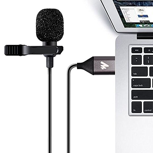 USB Lavalier Microphone-MAONO AU-410 192kHz/24bit Omnidirectional Lapel Mic Hands Free Shirt Collar Clip-on Microphone for PC Computer, Laptop, YouTube, Skype Recording, Live Broadcasting (236 in)
