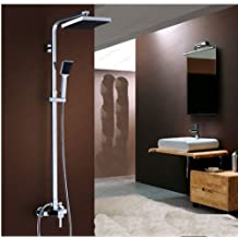 "Rozin 8"" Square Rainfall Shower Faucet Set Bathoom Tub Mixer Tap Shower Column Chrome"