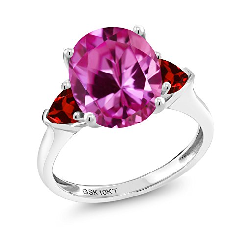 5.18 Ct Oval Pink Created Sapphire Red Garnet 10K White Gold (Garnet Pink Sapphire)