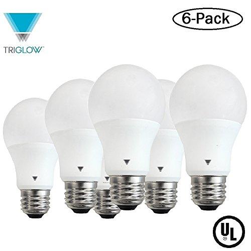 Triglow T95134 LED A19 Bulb 9-Watt (60W Equivalent) Deco White (3500K) 800 Lumen Light Bulb, 6 Pack ()