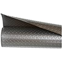 Resilia - Silver Plastic Floor Runner/Protector - Embossed Diamond Plate Pattern, (27 Inches Wide x 25 Feet Long)