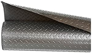 Resilia - Silver Plastic Floor Runner/Protector - Embossed Diamond Plate Pattern, (27 Inches Wide x 12 Feet Long)