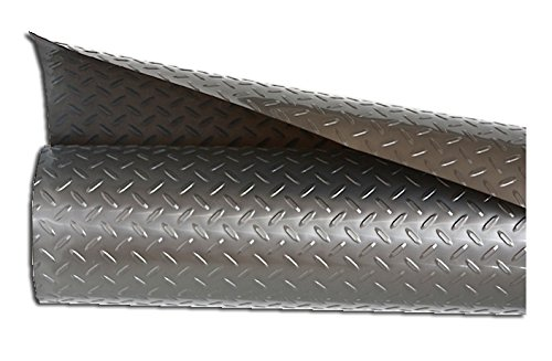 Stainless Plastic Liner - Resilia - Silver Plastic Floor Runner/Protector - Embossed Diamond Plate Pattern, (27 Inches Wide x 6 Feet Long)