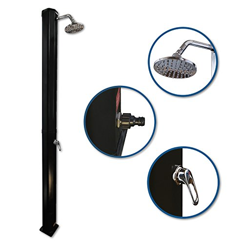 Nemaxx SD35B Solardusche - schwarze Gartendusche mit UV-beständigem Wassertank 35 Liter - mit schwenkbarem Regenduschkopf