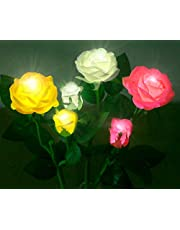 Anpro Solar Garden Rose Lights, 3 Waterproof Solar Lights with 6 Roses for Garden, Courtyard, Backyard Decoration (White, Pink and Yellow)