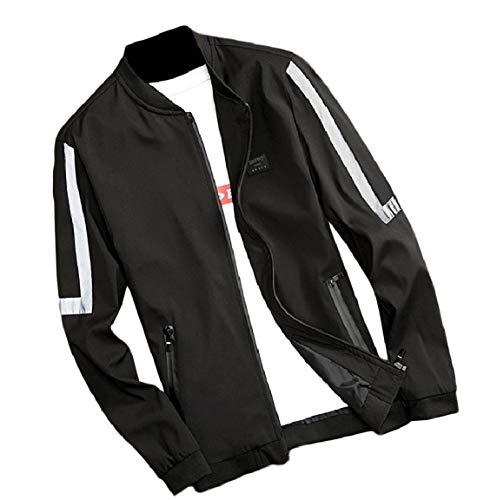 Baseball Zip Men's Patched Big Black Coat Mogogo Jacket Tall Full and Casual nI0gwdqAx