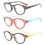 Eyekepper Womens Reading Glasses 3 Pack With comfort Spring Arms Classic Stylish Round Look-Crystal Clear Vision +2.0