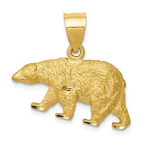 (Jewelry Stores Network 14K Yellow Gold Solid Textured Walking Bear Pendant 18x24mm)