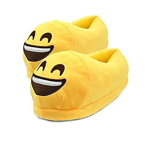 Fun Warm Cute EMOJ Winter Shoes Unisex Adult Slippers - Smiley Poop, Sleeping Face, Demon etc ¡ Smiling Face