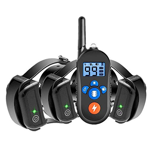 AMILIEe Dog Training Collar - Waterproof Rechargeable Dog Shock Collar w/3 Training Modes, 2500Fts Remote Range, Beep, Vibration and Shock for Small Dogs Medium Large Dogs (3 Dog, us)