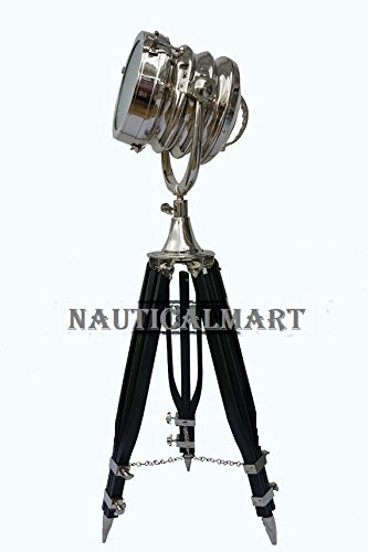 Industrial Polished Tripod Spot Light/ Tripod Floor Lamp/ Nickel Plated Tripod Search Light/ Floor Lamp By Nauticalmart