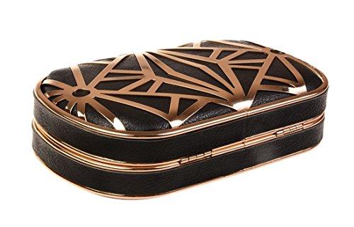 Pelle Progettista Borsetta tm Metallico Squisita Bacio Cavo modello nero In Oro Notte Frizione SqxzwARwZ