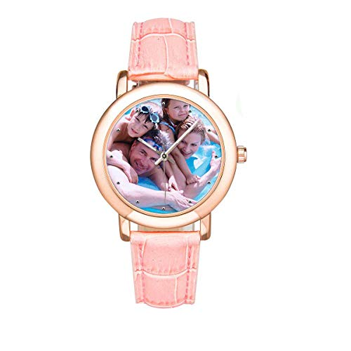 (Personalized Family Faces Photo Watch Custom Pink Leather Strap Wrist Watches for Women/Mother/Wife)
