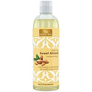 Beauty Aura 100 % Pure Sweet Almond Oil. Cold Pressed From Best Quality Almond Kernels. Hexane Free. No Synthetic Preservatives, Colors or Fragrances (32 Fl Oz)