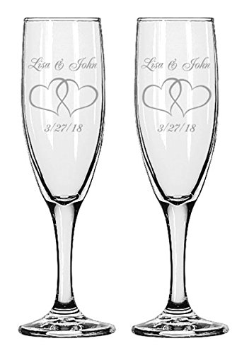 Gifts Infinity Engraved Wedding Interlock Hearts Champagne Flutes Set of 2 Personalized Toasting Glasses (Interlock Heart) ()