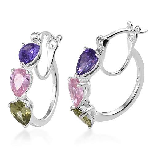 (925 Sterling Silver Huggie 3 Stone Heart Hoops, Hoop Earrings Jewelry for Women Pear Peridot Cubic Zirconia CZ Cttw 5.4)