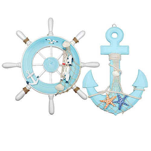 """Meching Nautical Decor 2 Pack 13"""" Wooden Ship Wheel and Wood Anchor with Rope Nautical Boat Steering Rudder Wall Decor Door Hanging Ornament(Light Blue)"""