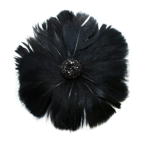 EK Success Brands Laliberi Pin and Clip Flower, Feathers and Netting, Black