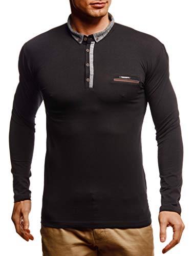 Leif Nelson Herren Langarmshirt Poloshirt Slim Fit Baumwolle-Anteil Basic Männer Longsleeve Sommer Pulli weißes Sweatshirt Polo-Shirt Schwarzer Sweater Pullover T-Shirt Langarm LN4810